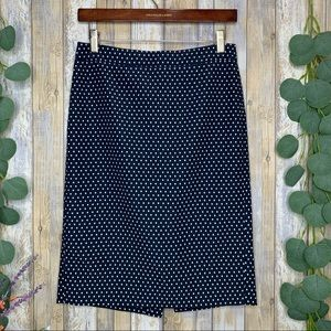 J. Crew No. 2 Navy Polka Dot Pencil Skirt